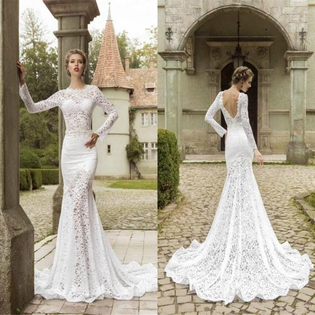 Fashion lace sweep train mermaid wedding dresses fitted for Crew neck wedding dress