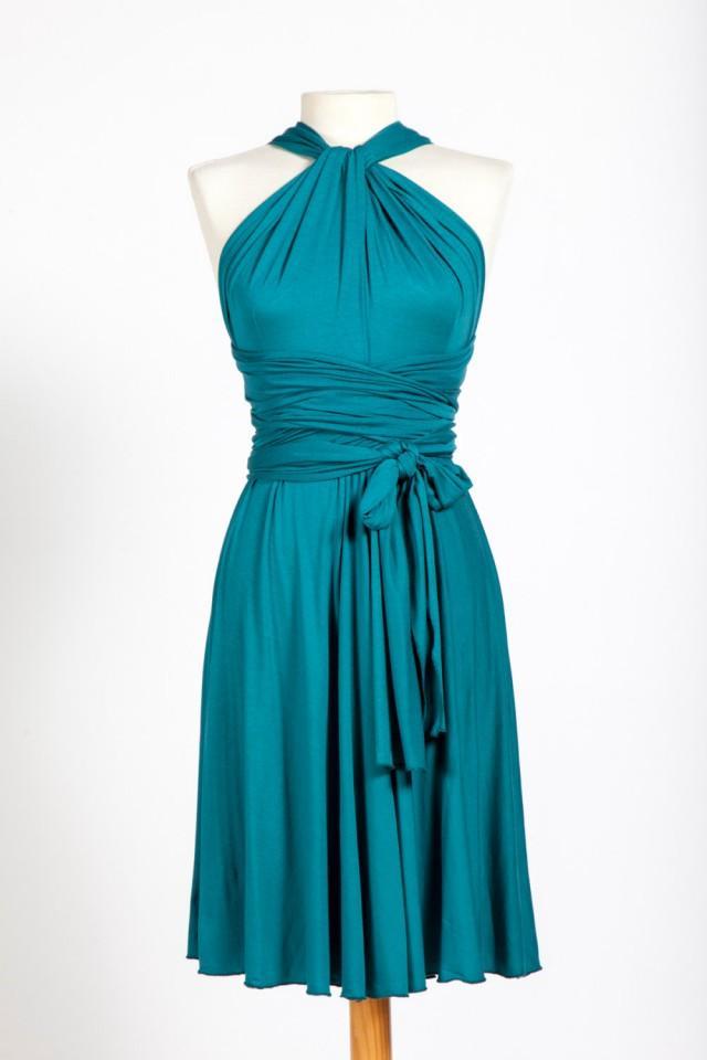 Turquoise Infinity Dresses Knee Length Bridesmaid Dresses