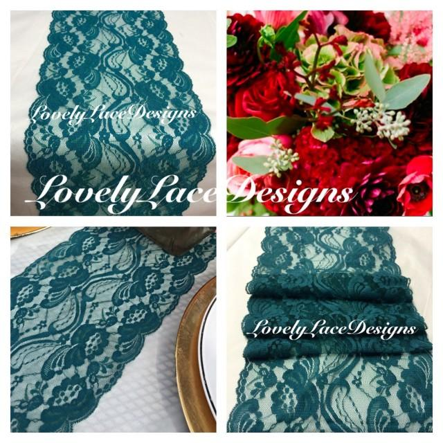 Fall decor teal green lace table runner 3ft to 10ft long for 10 ft table runner