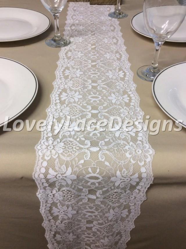 Wedding decor white lace table runner 5ft 10ft x for 10 ft table runner