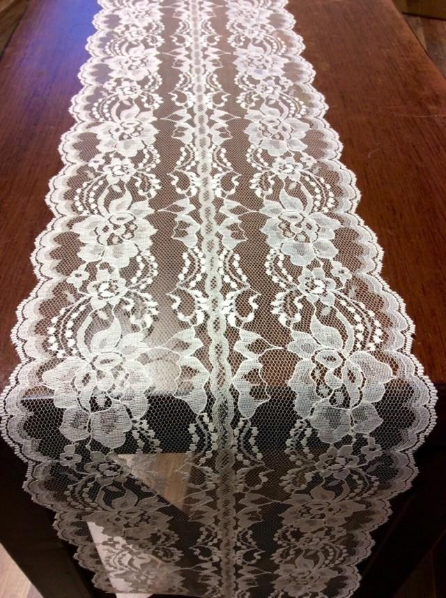Wedding decor white lace table runner 5ft 10ft x 8in wide for 10 foot table runner