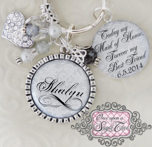 Wedding Gift For Bride From Best Friend: MAID Of HONOR Gift WEDDING Key Chain (or Necklace