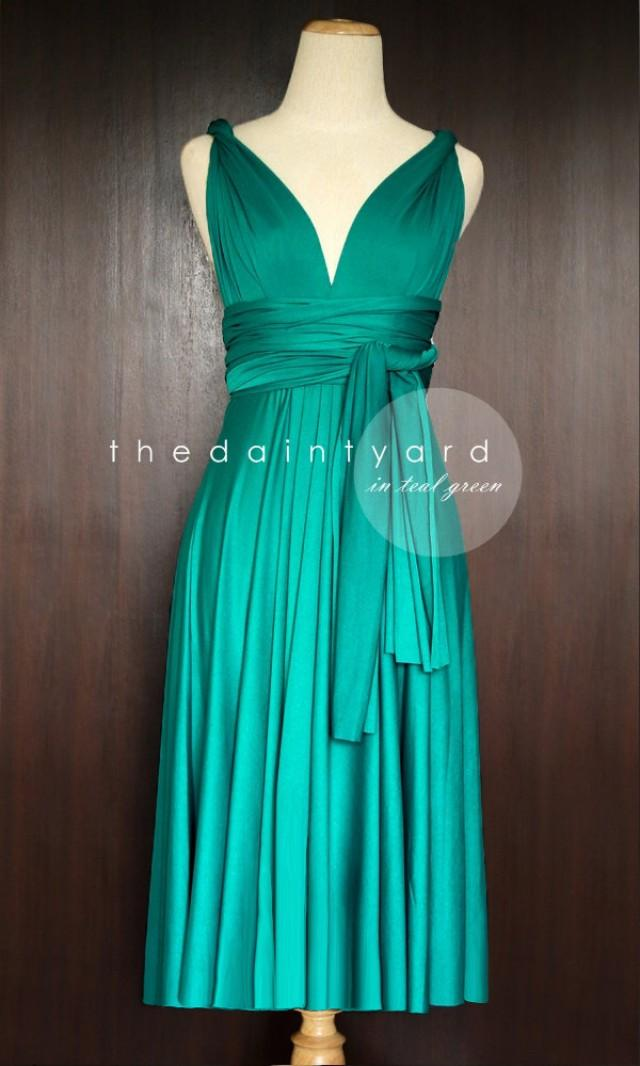 Short straight hem teal green infinity dress multiway for Teal dress for wedding
