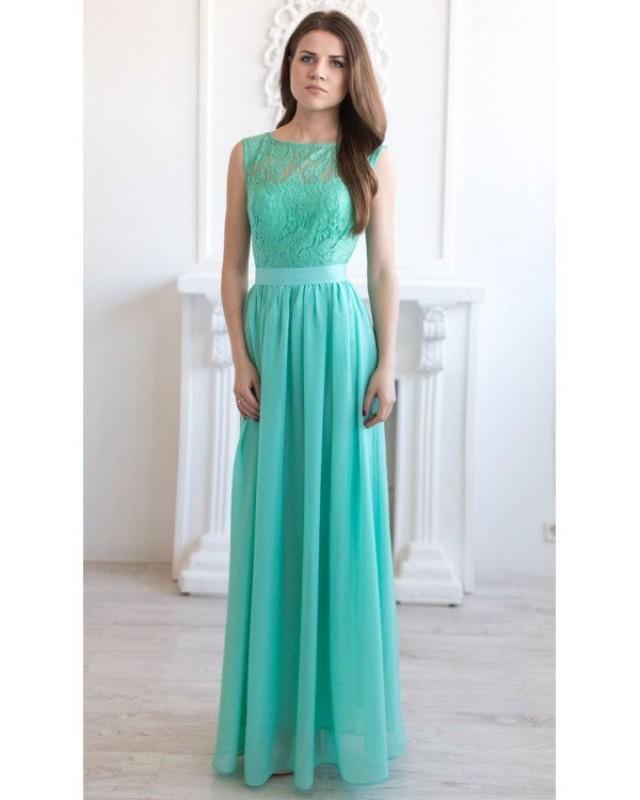 Mint Bridesmaid Dress Long Mint Lace Dress Long Lace ...