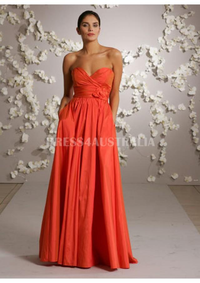 Buy australia orange a line sweetheart neckline taffeta for Taffeta wedding dress with pockets
