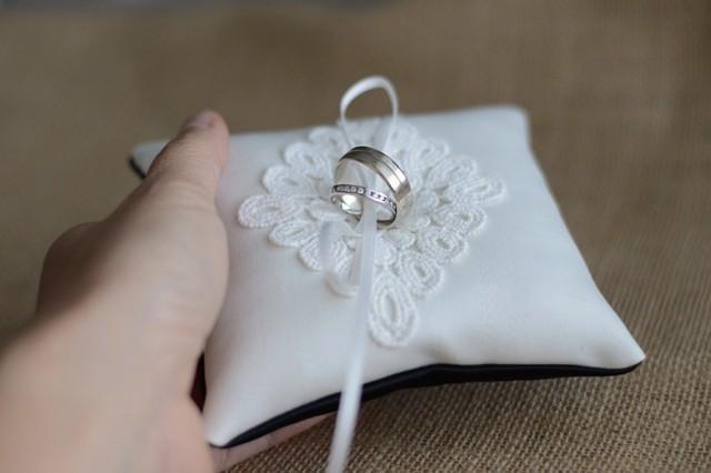 Wedding Ring Pillow Ring Bearer Pillow Black And White