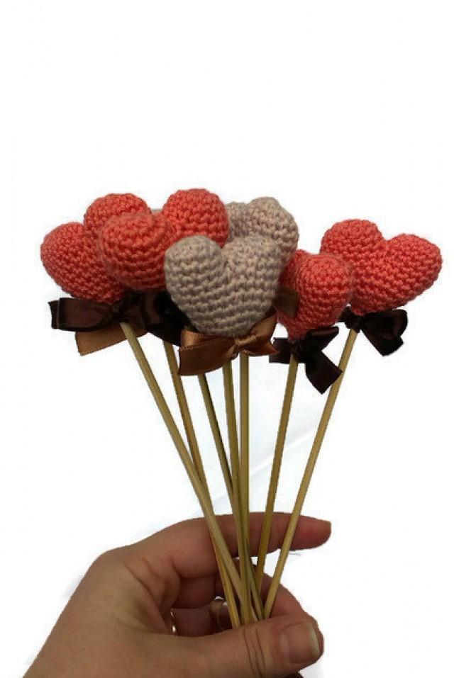 Coral Color Crochet Heart Crochet Wedding Decoration