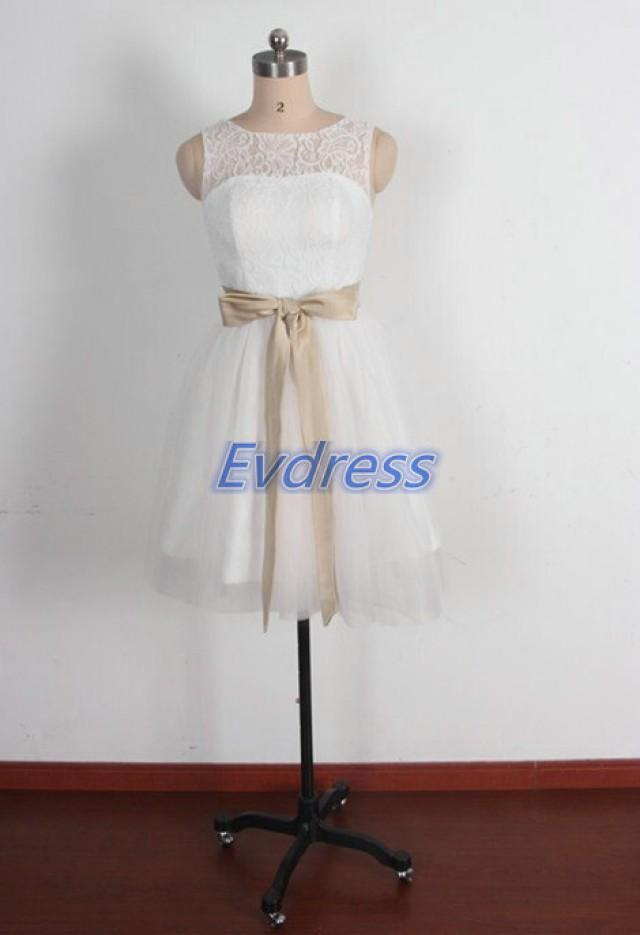 Short ivory lace tulle bridesmaid dress with bow 2015 for Short cheap wedding dresses under 100