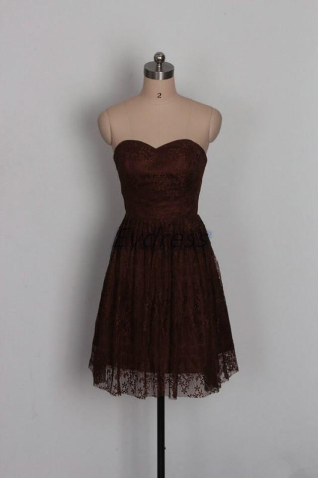 Short Dark Coffee Lace Bridesmaid Dressinexpensive Bridesmaid Gowns Under 100cheap Women