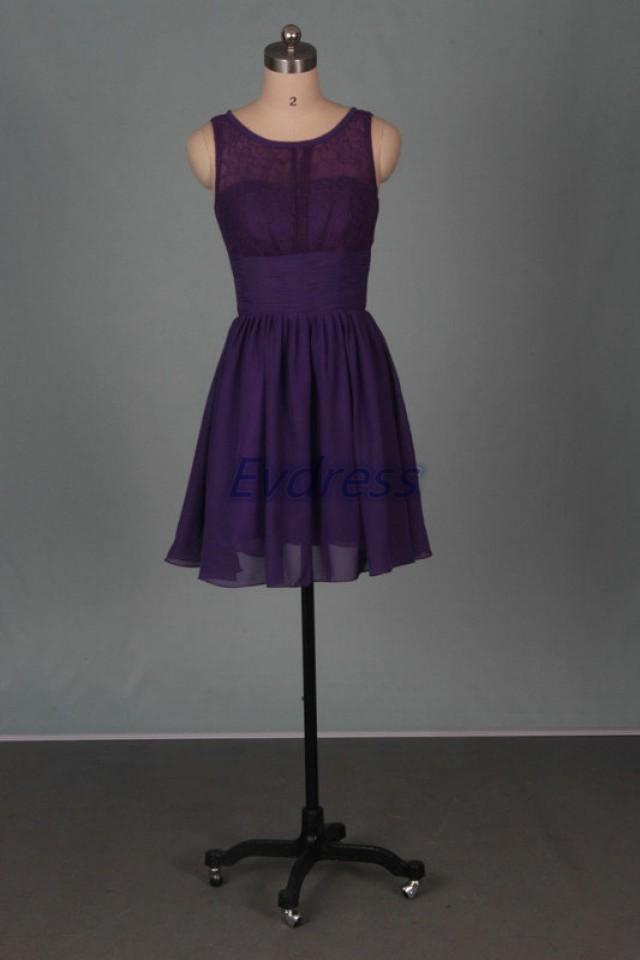 Short eggplant bridesmaid dresses 2015 chiffon lace women for Short cheap wedding dresses under 100