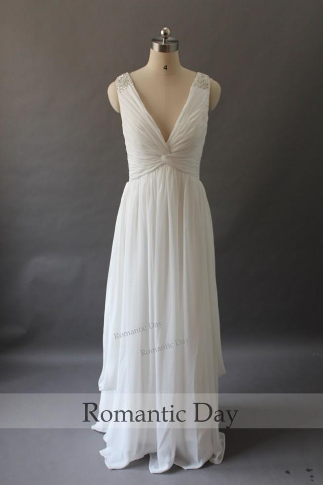 Simple elegant deep v neck white chiffon beach wedding for White elegant wedding dresses