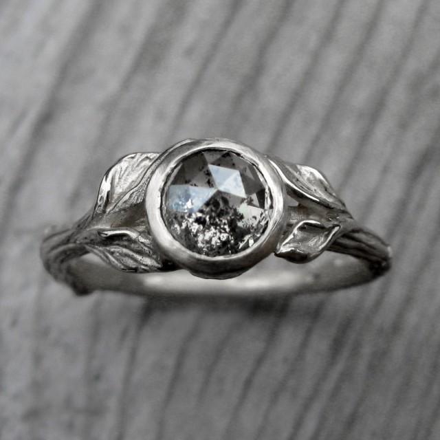 Custom Rose Cut Diamond Twig & Leaf Engagement Ring Design Your Own Rust