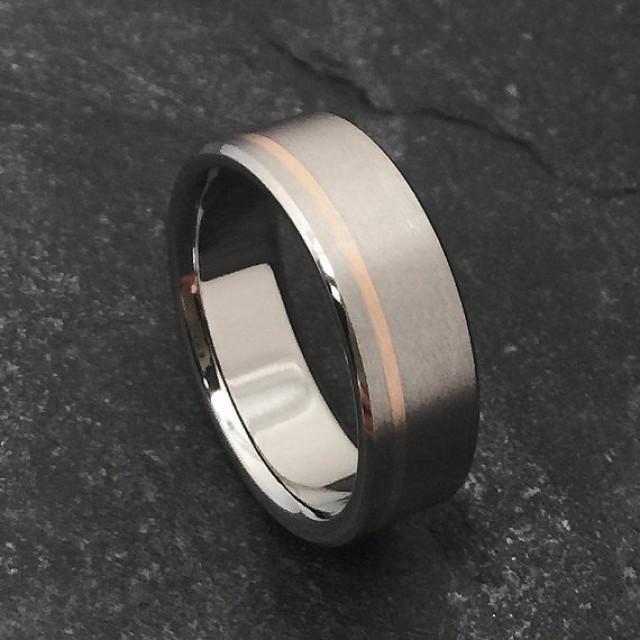 Rose gold and titanium ring titanium wedding ring mens for Titanium womens wedding ring
