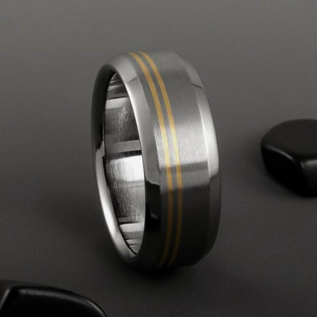Titanium Gold Ring Yellow Gold Ring Mens Titanium Ring Womens Ring Titani