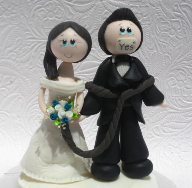 Funny Wedding Cake Topper Funny Cake Topper Funny Topper Groom Tied Up By Bride 2403500