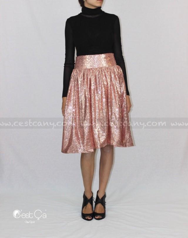 Charlotte - Blush Pink Sequin Skirt, Rose Gold Skirt, Birthday ...