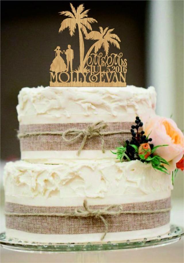 wedding photo - Rustic Cake Topper,Beach Wedding Cake Topper,Bride and Groom Cake Topper,Funny Cake Topper,Custom Tree Cake Topper,Mr and Mrs cake topper