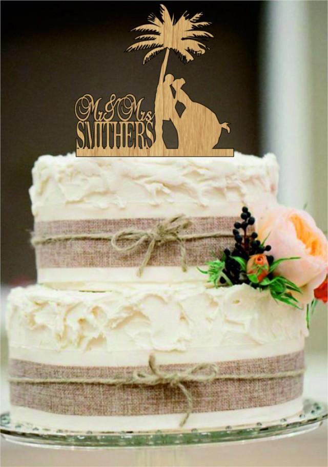wedding photo - Beach Wedding Cake Topper,Bride and Groom Cake Topper,Funny Cake Topper,Rustic Cake Topper,Custom Tree Cake Topper,Mr and Mrs cake topper