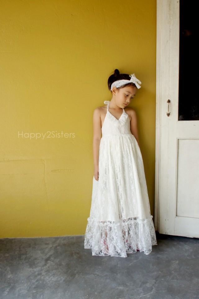 Lace flower girl dress ivory flower girl dress rustic for Country wedding flower girl dresses