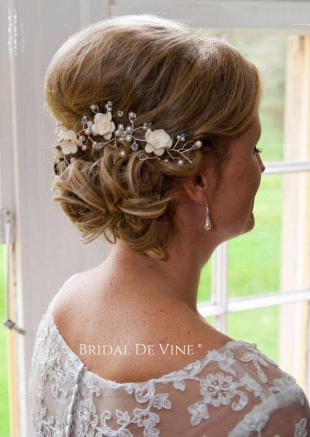 Bridal Hair Accessories For Buns : Mulberry flower hair vine up bun bridal