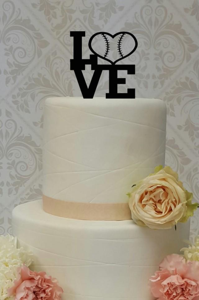 wedding photo - Baseball Theme Love Cake Topper Wedding Grooms Cake