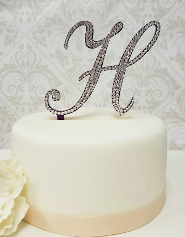 wedding photo - 5 Inch Tall Monogram Wedding Purple Cake Topper - Elegant FontsCrystal Swarovski Crystal Rhinestone Monogram Letter Cake Topper ANY LETTER
