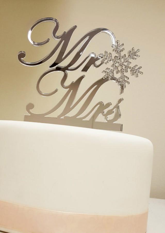 wedding photo - Winter Themed Wedding Snowflake Mr & Mrs Cake Topper Swarovski Snowflake Topper Mr and Mrs Mr and Mr Mrs and Mrs