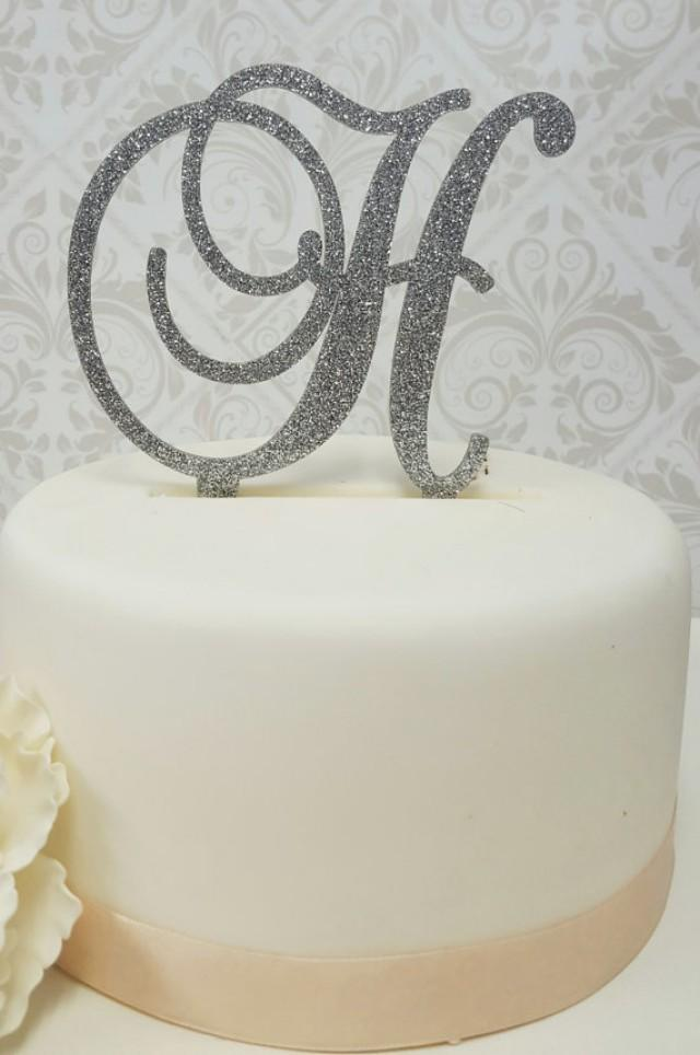 """wedding photo - 5"""" Tall Silver or Gold Glitter Acrylic Cake Topper Wedding Cake Topper Sweet Sixteen Cake Topper Bling Cake Topper Sparkly Cake Topper"""
