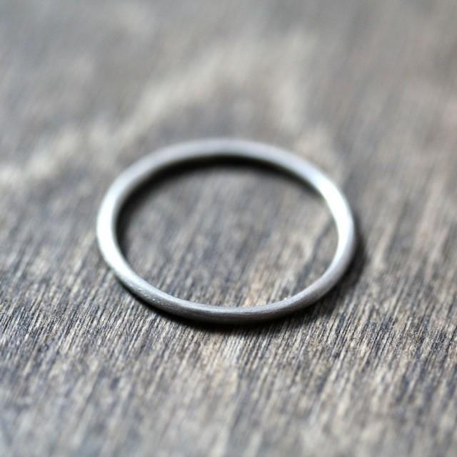 Womens Slim White Gold Wedding Band Skinny Round Recycled 14k Palladium White Gold Ring