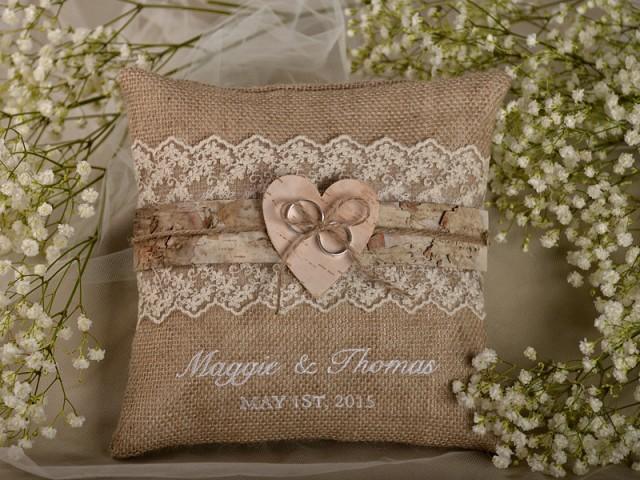 lace rustic wedding pillow  birch bark ring bearer pillow   burlap ring pillow  embroidery names
