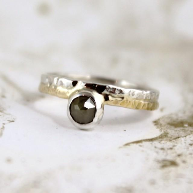 Rose Cut Diamond Ring 14K Yellow Gold And Sterling Silver Ring Anniversar