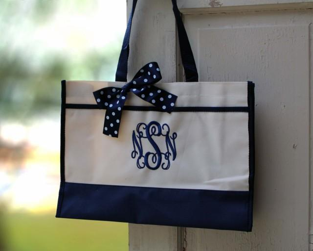 monogrammed tote bag monogrammed tote bridesmaid tote personalized tote wedding 2405298. Black Bedroom Furniture Sets. Home Design Ideas