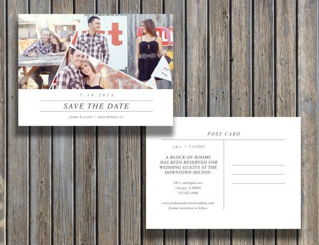 Save the date vintage postcard template 5x7 customizable for Back of postcard template photoshop