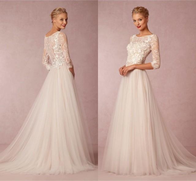 2015 modest wedding dresses with half sleeves garden sheer