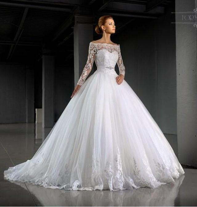 Stunning Bateau Neck Winter Wedding Dresses Long Sleeve