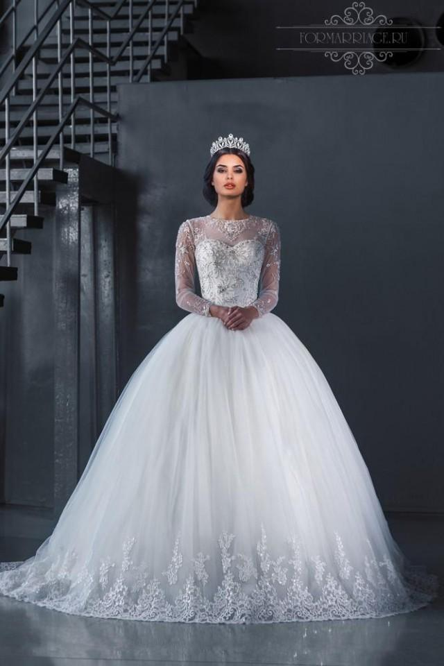 Luxury crystal beaded illusion wedding dresses lace sheer for Long sleeve sequin wedding dress