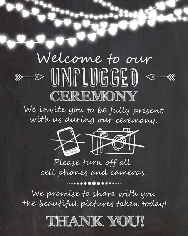 Unplugged Ceremony Wedding Sign Unplugged Wedding Sign