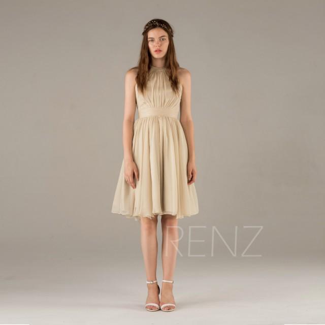 2015 Beige Bridesmaid Dress,A Line Chiffon Dress, Short Wedding ...