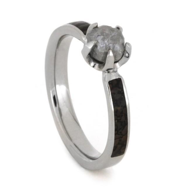 wedding photo - Rough Diamond Engagement Ring with Dinosaur Bone