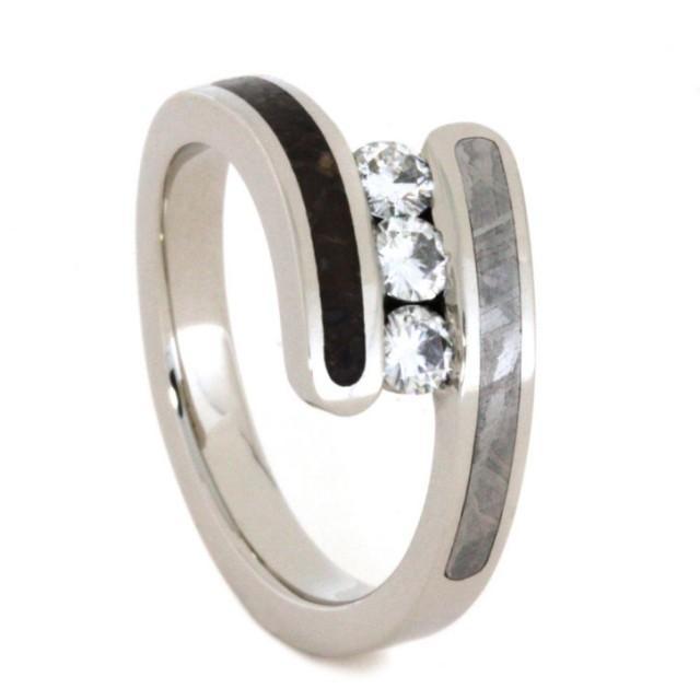 wedding photo - Moissanite Engagement Ring with Meteorite & Dinosaur Bone