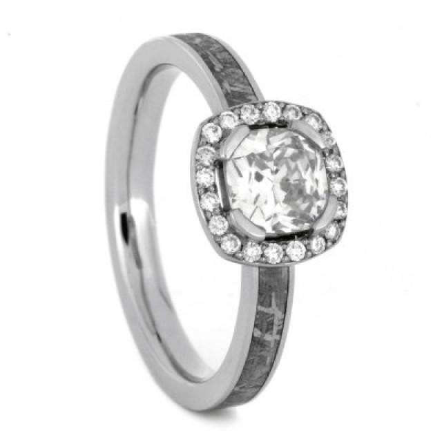 wedding photo - Moissanite Ring with Diamond Accents and Meteorite in Palladium