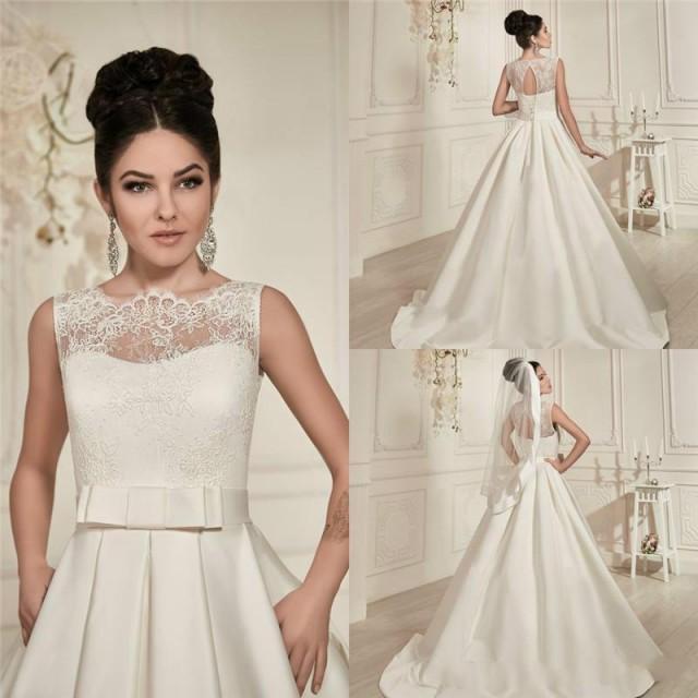 20 Elegant Simple Wedding Dresses Of 2015: Elegant 2015 Wedding Dresses Lace Sheer Crew Neck See
