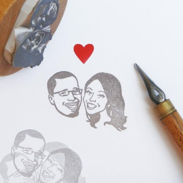 portrait stamps custom couples    hand carved rubber stamp    for personalised rustic wedding