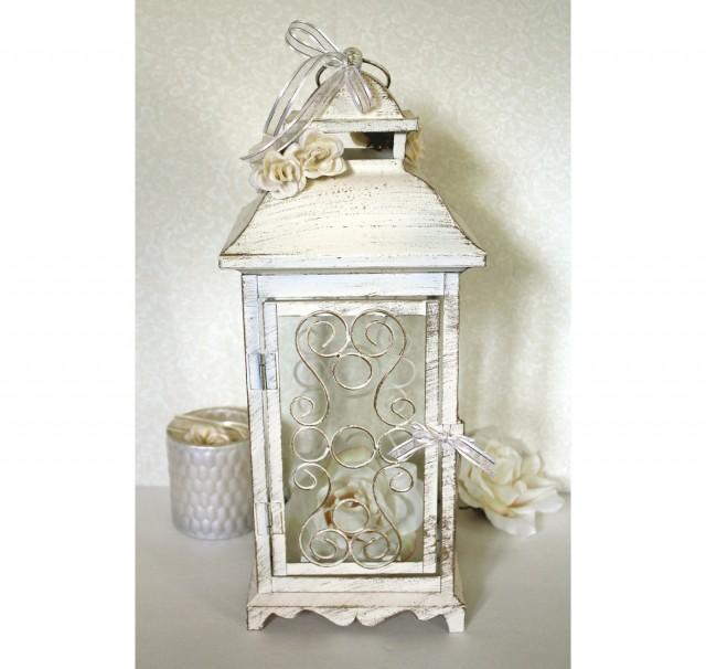 Wedding in lantern centerpiece vintage antique ivory