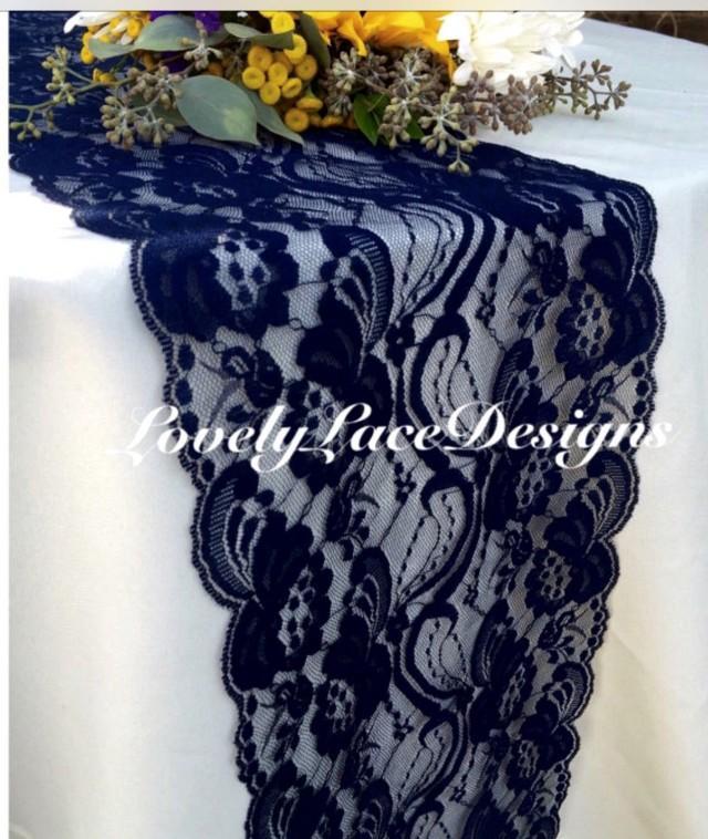 Navy blue lace table runner dark navy blue wedding decor for 10 ft table runner