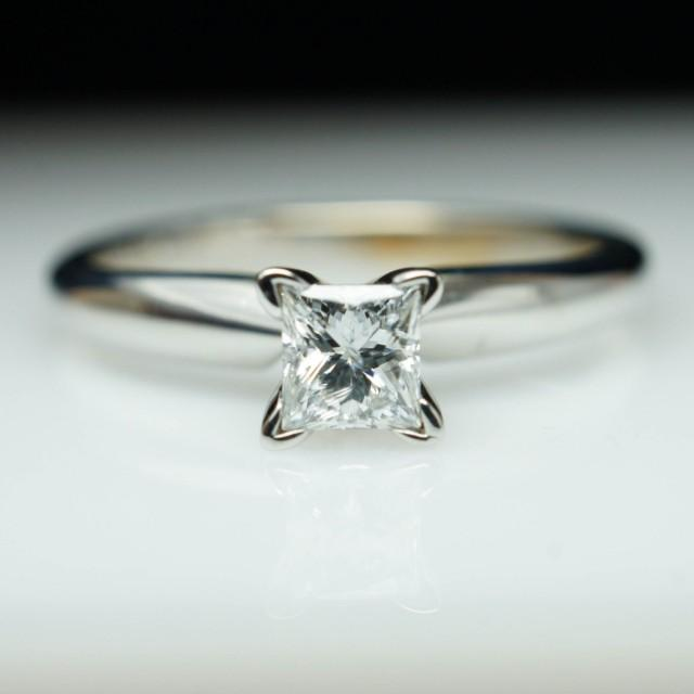 vintage princess cut diamond engagement ring simple