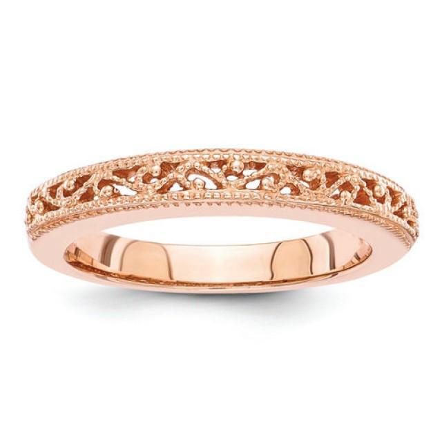 14 Kt Rose Gold Ladies Diamond Wedding Ring Stackable Ring Rose Gold Wedding Bands 2408022