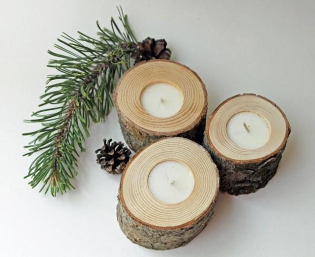 Set of pine tea light candle holders