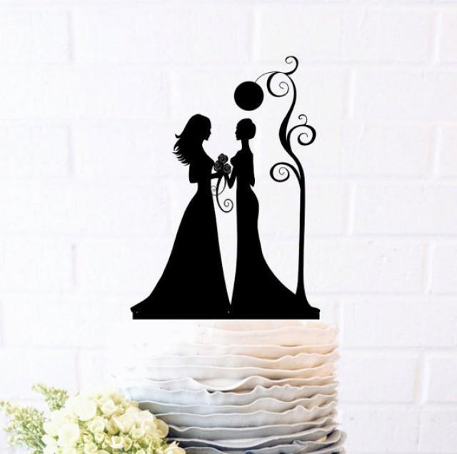 wedding photo - Mrs & Mrs Cake Topper, Custom Wedding Cake Topper, Same sex wedding, Cake Decor,Wedding Cake Topper Silhouette, gay wedding