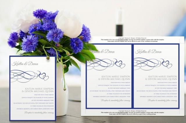 Wedding Invitations Royal Blue And Silver: Printable Wedding Invitation Template